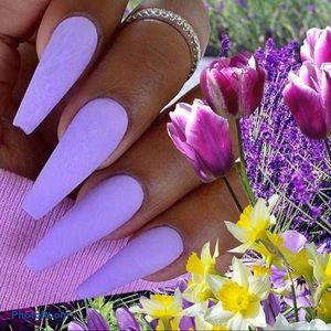24pcs Press on Nails Ballerina Coffin Matte purple
